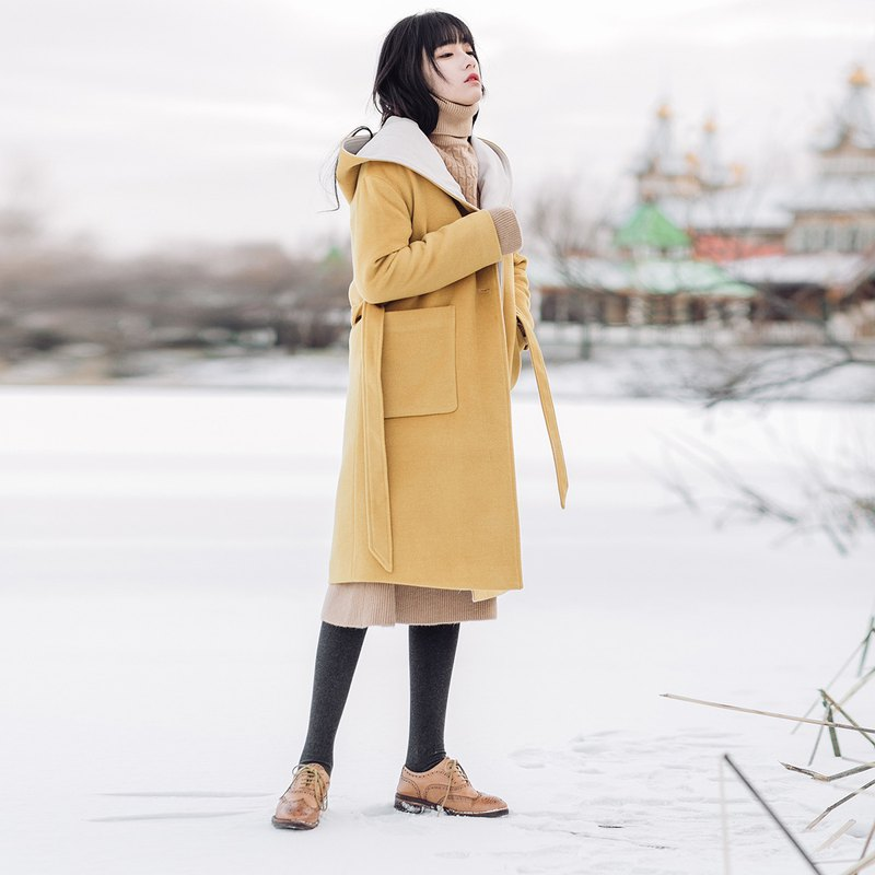 Anne Chen 2017 winter new women's color hooded long coat