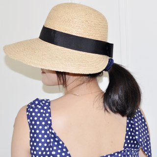 Flat 135 X Taiwanese designer summer straw hat half curved back owl embellished two colors