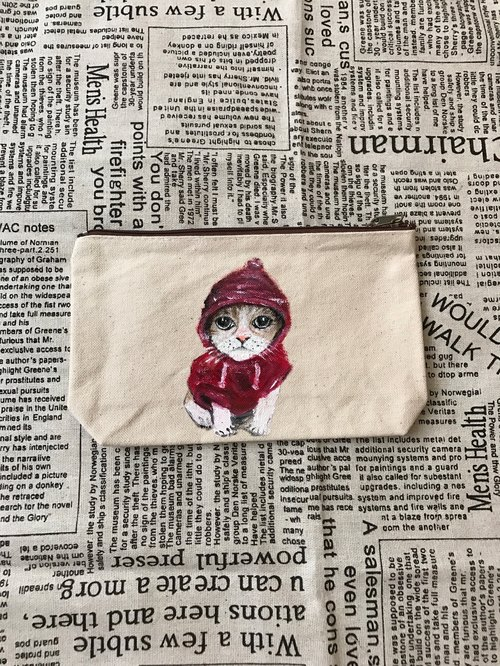 Hand-painted canvas cat cosmetic bag / universal bag