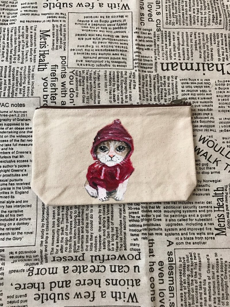 | pure hand-painted cosmetic bag universal bag | canvas cat