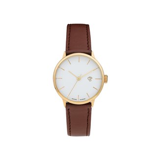 Chop Brand Swedish brand - Khorshid Mini series gold white dial brown leather watch