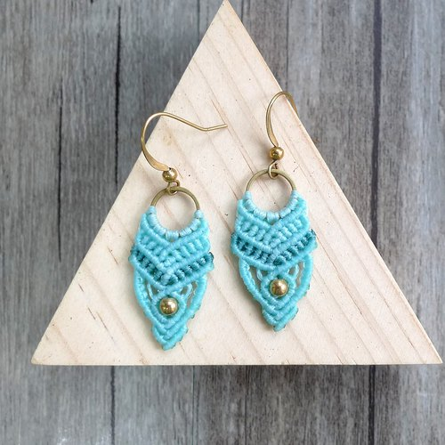 Misssheep-A74 - Lake Owl - Ethnic Style South American Wavy Braided Brass Bead Earrings (Hook / Ear Clip)