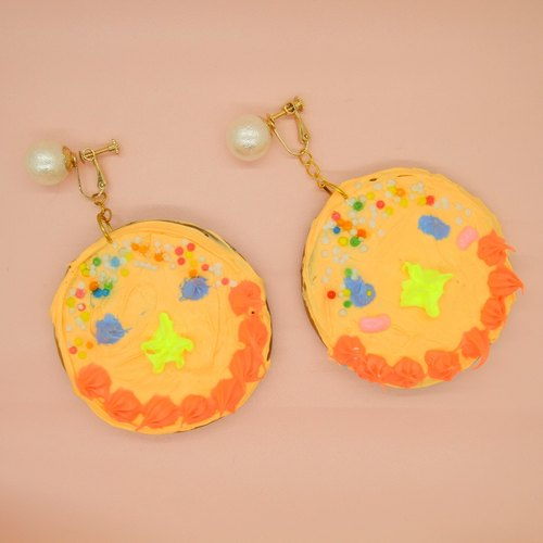 Candy Stone-cream cake cookie- manual simulation Fun Biscuit ear clip earrings