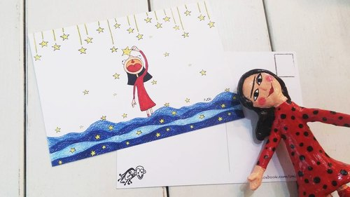 PuChi / Self-Portrait / postcard / reaching for the stars