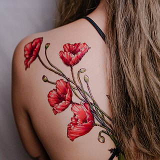Minimalist Poppy Flower Long Lasting Temporary Tattoo Stickers Floral Summer Fun