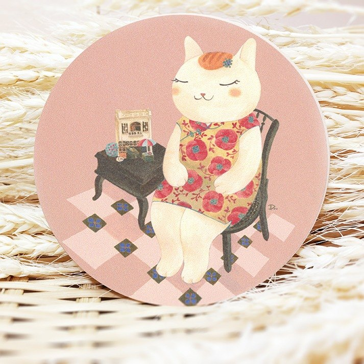 Cat Ukiyo-e - Gan Yi Tong / ceramic coaster