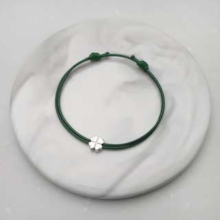 Wax bracelet s925 sterling silver four leaves lucky grass plain simple wax rope thin line