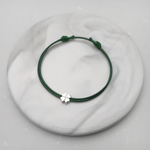 Wax line bracelet s925 sterling silver four-leaf clover plain simple wax rope thin line