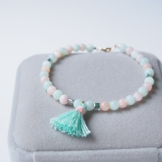 """KeepitPetite"" pink mint green x · · small beads fringed white-pearl oyster bracelet bracelet ·"