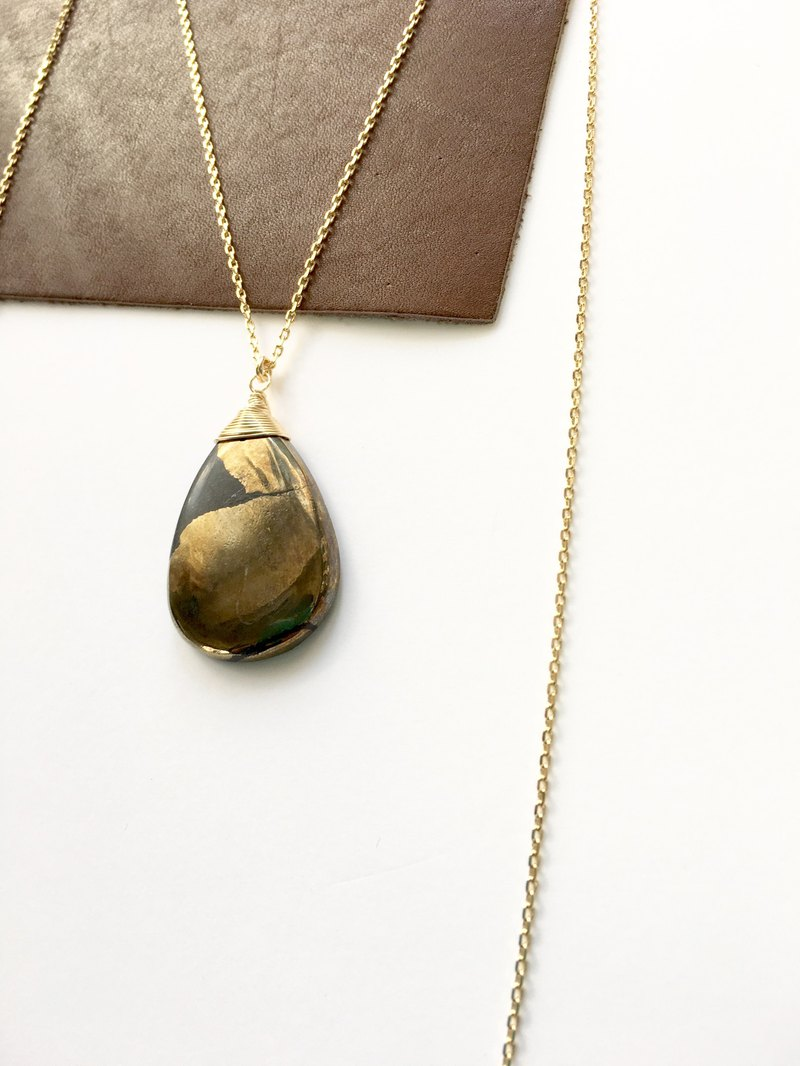 Pyrite chain long necklace