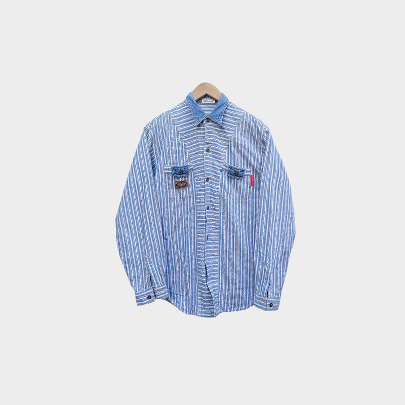 Dislocation vintage / light blue long-sleeved denim shirt no.073 vintage
