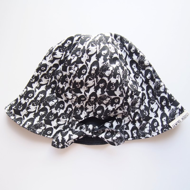 Ponytail Girls - Handmade Hat | Double sided (Faces x Black)