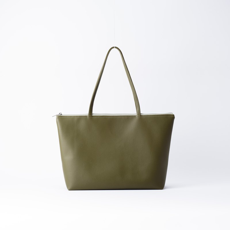 Plain leather shoulder tote bag matcha green