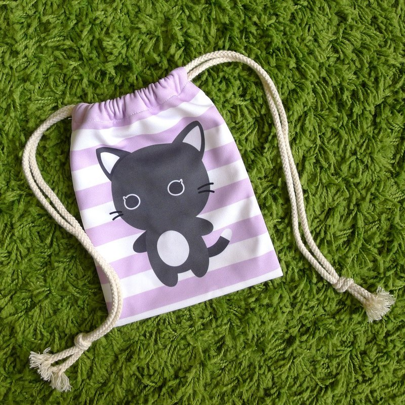 Purrballs Cat Print Drawstring Pouch