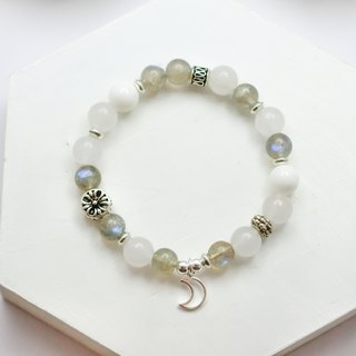 Gentle moonlight natural stone silver bracelet │ white gray system 玥 unicorn labradorite