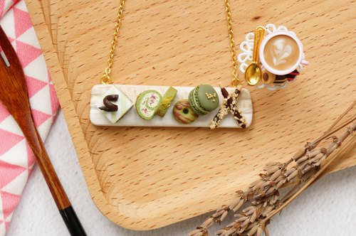 Goody Bag - Matcha Necklace + Coffee / Lemon Tea Earrings