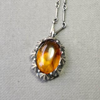 Delia flower vintage silver pendant chain - orange yellow amber