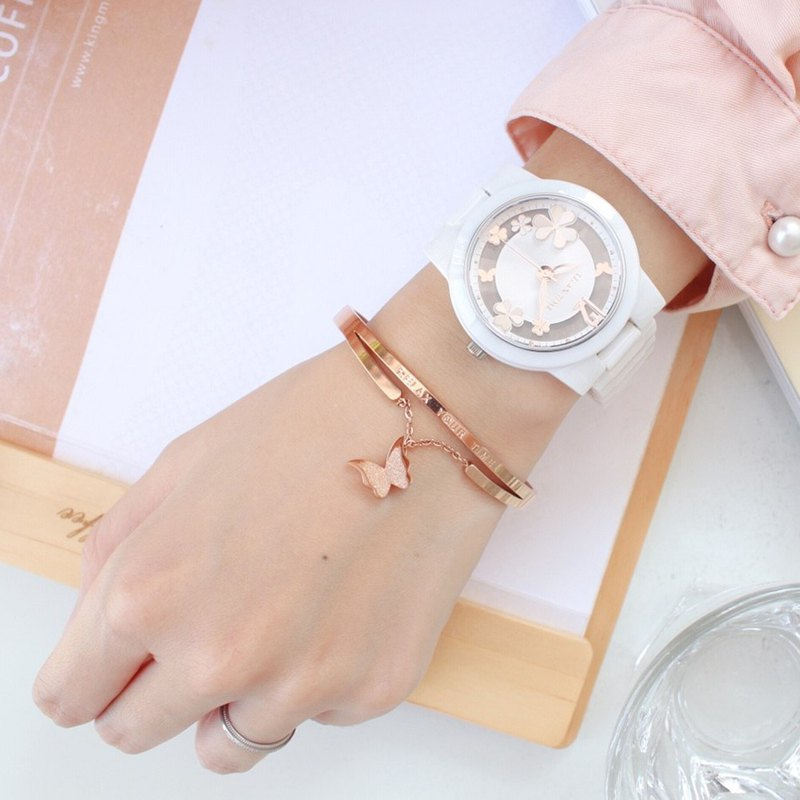 RELAX TIME Garden series hollow ceramic watch - white X rose gold (RT-80-2) gift bracelet