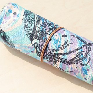 Valentine's Day gift / feel Reel / spring rolls Pencil - water color pen house (marine bioluminescence through pumping / squid) Leather double bar