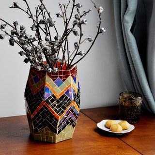 Geometric pattern vase original handmade stained glass mosaic flower Nordic living room flower vase decoration