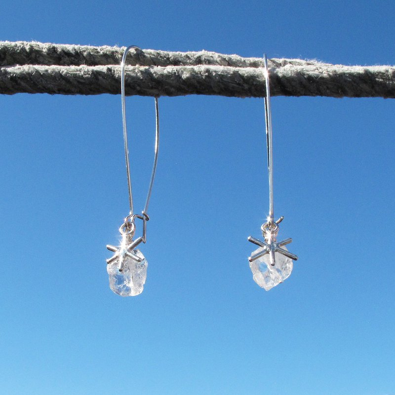 Limited - Sugar White snowflake quartz sterling silver earrings