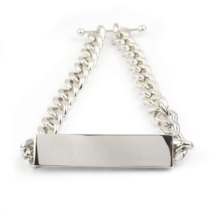 Flat rectangular necklace Flat rectangle Necklace (bright silver)