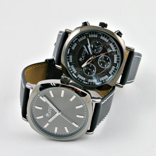 Couples Trendy Black Watch (One Chrono and one 3pins)