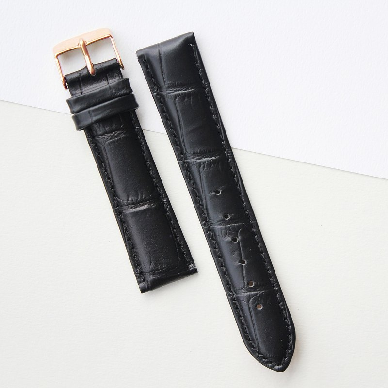 【PICONO】20-18mm texture black leather strap-Rosegold Buckle