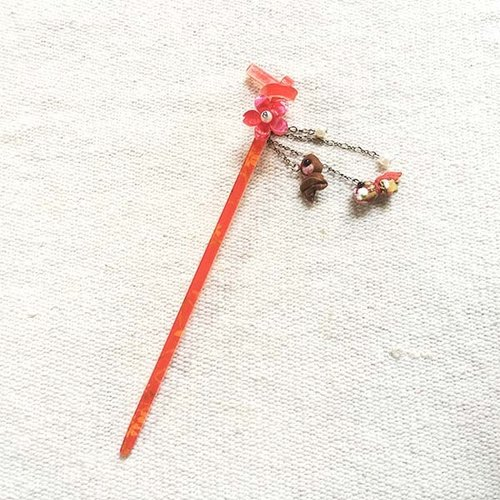 Paper cherry double goldfish, hairpin, hairpin