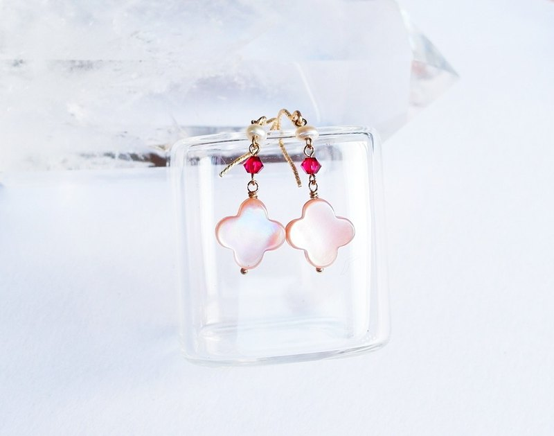 Lucky grass beautiful pink light natural butterfly shell 14K GF earrings gift natural stone light jewelry