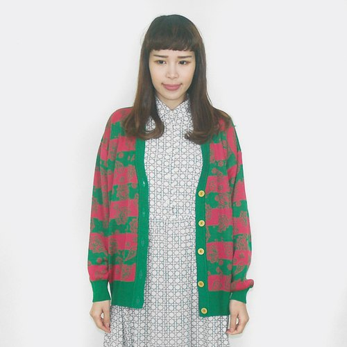 Vintage red and green stripes vintage knit jacket BG5002
