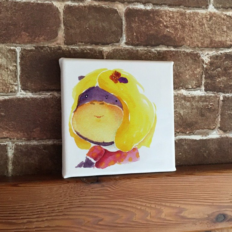 Hippo girl back to cute animal frameless painting copy painting wall decoration Christmas gift