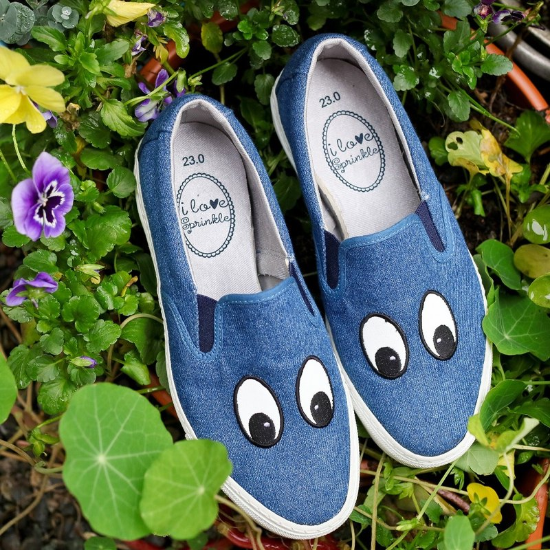 Holly denim four-eyed Slip-On casual shoes (adult) - (zero code special offer only returns)