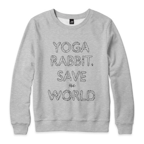YOGA RABBITS SAVE the WORLD - Deep Heather Grey - neutral version of the University of T