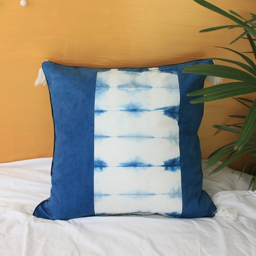 Indigo blue dye handmade pillow dotted line single product