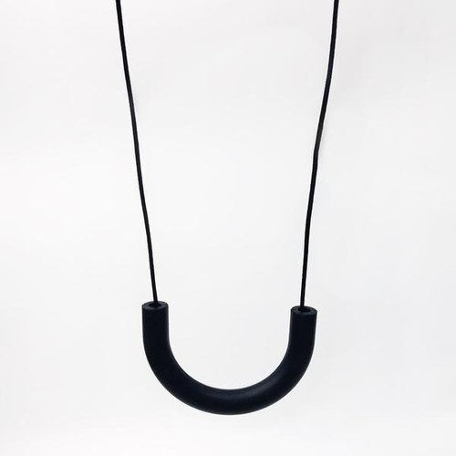 U TUBE SILICONE NECKLACE - BLACK
