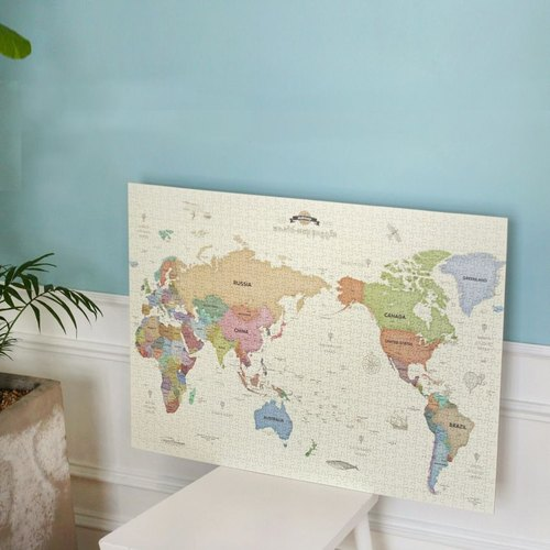 indigo- 1000 world map puzzle - pastel version, IDG70541