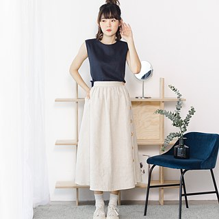 Linen Long Skirt in Beige colour