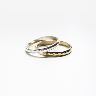 Combination Series - Sterling Silver and Copper Double Rings Forged Knock Angle Face Ring/Gold