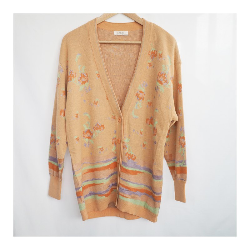 Vintage Pastel Color Floral Pattern Knit Jacket