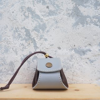 Small dumplings - leather purse / small bag / jewelry bag - gray + brown