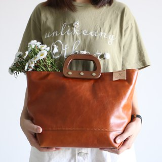 Mingen Handiwork spring and summer new original simple hand-stitched brown handbag PB18001