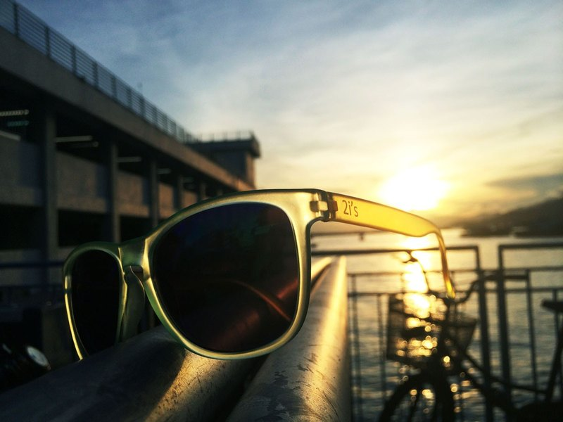 Sunglasses│Yellow + Green Frame│Blue Lens│UV400 protection│2is Eugene