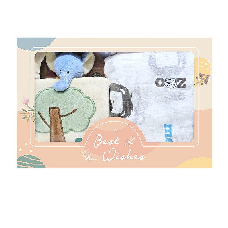 新生兒安撫禮盒組 布書+安撫巾+純棉紗布包巾 (miYim大象)