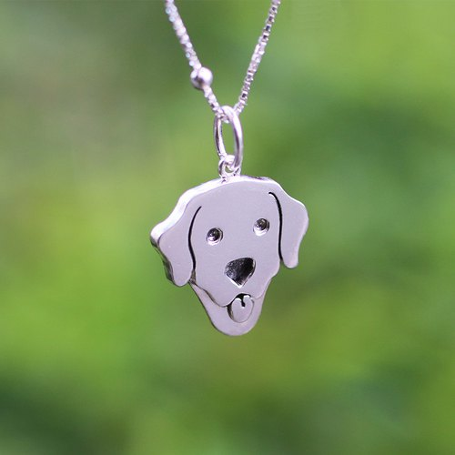 925 Sterling Silver【Labrador Retriever -Dog cut silhouette Necklace 】You make my heart smile. (Handmade)