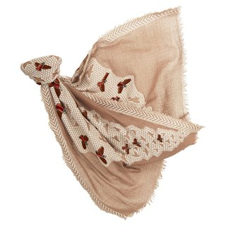 [Angel Woolen] micro dance Indian hand-embroidered beaded wool shawl - camel