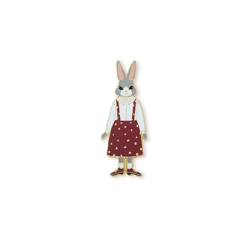 Miss bunny rabbit brooch badge town series