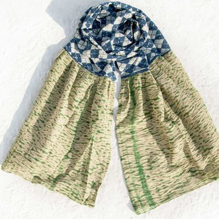 Blue dyed silk scarf / batik embroidery silk scarf / plant dyed scarf / indigo gradient cotton scarf - green grass