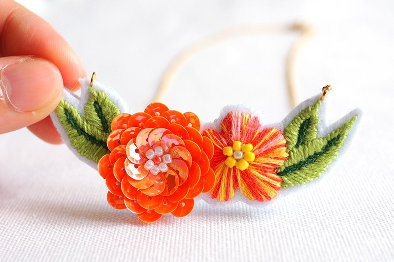 Tangerine Dream Sequin and Embroidery Flower Bib Necklace