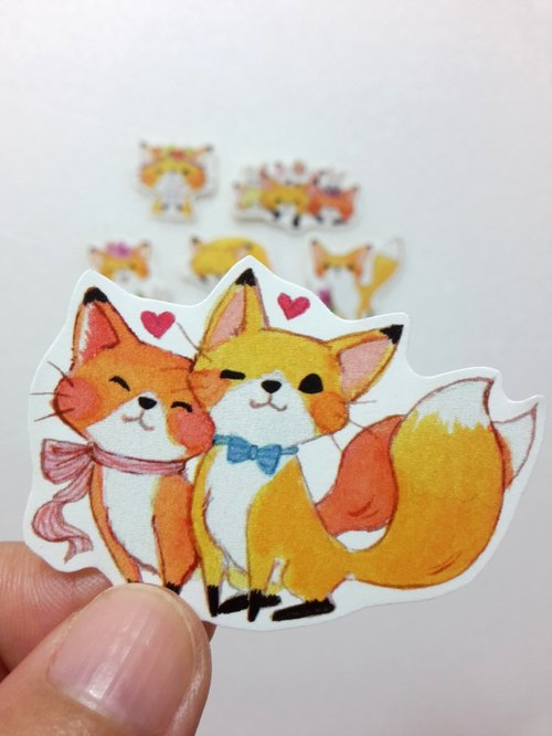 Flower Fox stickers (six up a group)